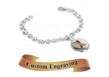 MyIDDr Brown Awareness Charm Bracelet Engraved XS Steel Mini O-Link Chain