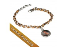 MyIDDr Brown Awareness Bracelet Custom Engraved Silk and Steel Chain