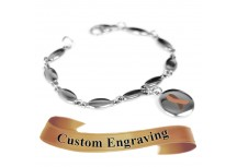 MyIDDr Brown Ribbon Awareness Bracelet Engraved Stainless Steel Drops