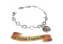 MyIDDr Brown Awareness Charm Bracelet Engraved Steel Cross Cut-Out Links