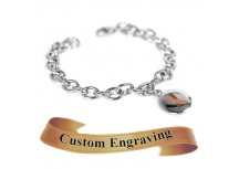 MyIDDr Brown Awareness Ribbon Bracelet Engraved Stainless Steel O-Links