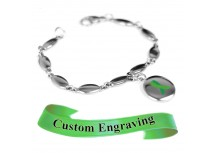 MyIDDr Green Awareness Charm Bracelet Engraved Stainless Steel Drops