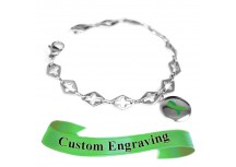MyIDDr Green Awareness Ribbon Bracelet Engraved Steel Cross Cut-Out Links