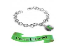 MyIDDr Green Awareness Bracelet Custom Engraved Stainless Steel O-Links