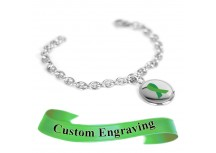 MyIDDr Green Awareness Ribbon Bracelet Engraved XS Steel Mini O-Link Chain