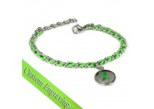 MyIDDr Green Ribbon Awareness Bracelet Engraved Silk and Steel Chain