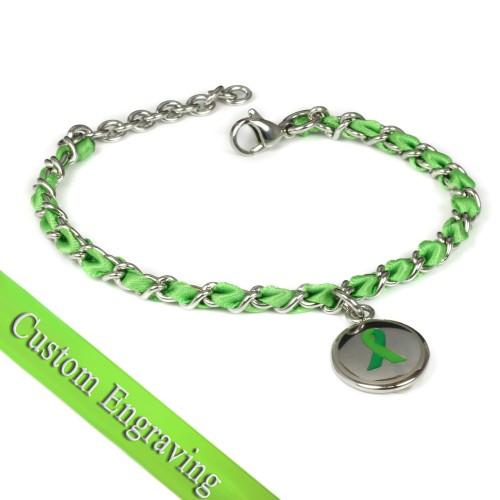 Myiddr Green Ribbon Awareness Bracelet Engraved Silk And