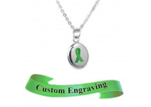 MyIDDr Green Awareness Charm Necklace Custom Engraved