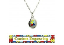 MyIDDr Autism Awareness Charm Necklace Custom Engraved