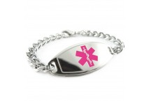 MyIDDr Basic Steel Medical ID Bracelet Special Limited Addition Magenta with Curb Chain