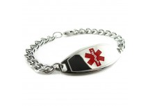 MyIDDr Basic Steel Medical ID Bracelet Curb Chain, Choice of Symbol Color