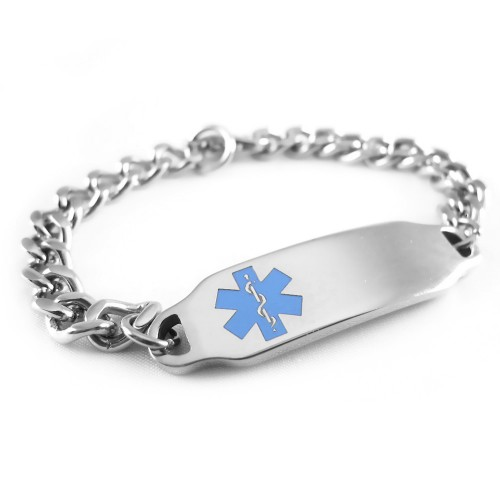Myiddr Clic 2 Steel Medical Alert Bracelet Custom Engraved Curb Chain Choice Of Symbol Color