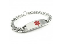 MyIDDr Modern Steel Medical Alert Bracelet Curb Chain