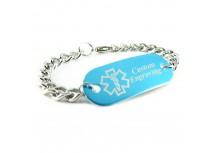 MyIDDr Blue Aluminum Medical Bracelet Curb Chain