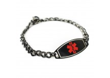 MyIDDr Engraved Medical Bracelet 316L Steel and Plated Black, Red or White Symbol