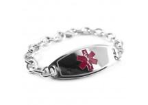 MyIDDr Basic Steel Medical Bracelet O-Link Chain, Choice of Symbol Color
