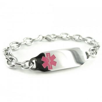 Pink Red Millefiori Glass Pre-Engraved /& Customized Penicillin Allergy Charm Alert Bracelet My Identity Doctor