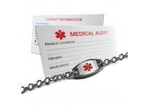Custom Engraved Small & Light Medical Alert ID Bracelet, Stainless Steel, Free ID Card Incd