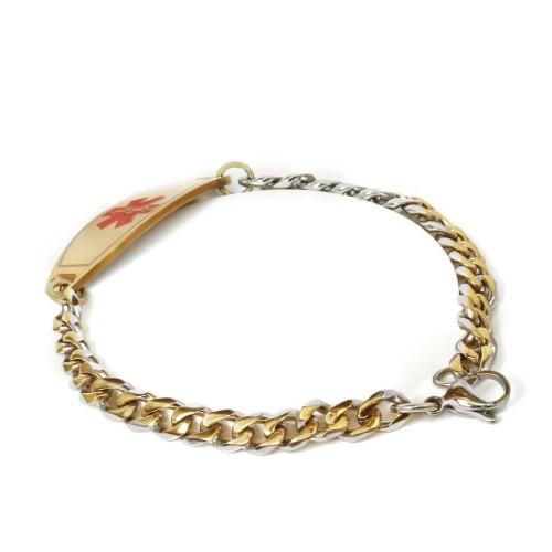 myiddr custom engraved medical id bracelet gold tone