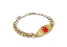 MyIDDr Custom Engraved Medical Bracelet Gold Tone Plated ID And Thick Curb Chain