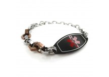 MyIDDr Medical Alert Bracelet Bolts Design Plated Black ID Red or White  Symbol