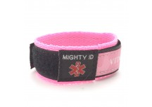 Mighty ID Pink Adjustable Velcro Medical ID Bracelet