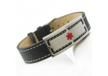 MyIDDr Medical Bracelet Black Leather Steel ID Plate