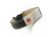 MyIDDr Medical ID Bracelet Black Leather Steel ID Plate