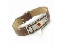 MyIDDr Medical Bracelet Brown Leather Steel ID Plate