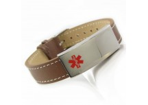 MyIDDr Medical ID Bracelet, Brown Leather, Steel ID Plate