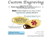 MyIDDr Medical Alert ID Tag Custom Engraved Gold Toned 316L Stainless Steel