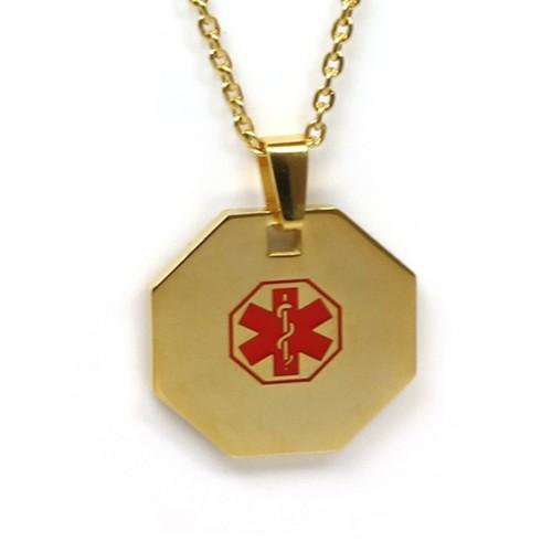 Medic Alert Necklace: MyIDDr Steel Medical Alert Necklace Gold Toned Red Symbol
