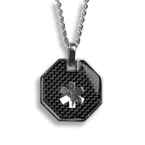 Medic Alert Necklace: MyIDDr Custom Engraved Medical Alert Necklace, Carbon