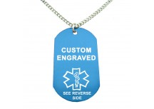 MyIDDr Blue Aluminum Medical Alert ID Dog Tag