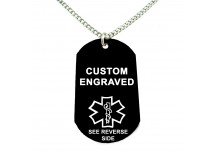 MyIDDr Black Aluminum Medical Alert ID Dog Tag