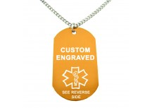 MyIDDr Orange Aluminum Medical Alert ID Dog Tag