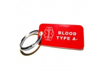 Red, Plasitc Medical ID Blood Type A Negative KeyChain - Pre-Engraved